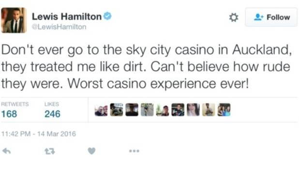 Lewis Hamilton took to Twitter to post a damning review of Auckland's Sky City casino.