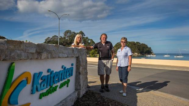Kaiteriteri Motor Camp are turning away Wicked Campers from left staff Member Sandra Bull, Manager Dennis Petch, and ...