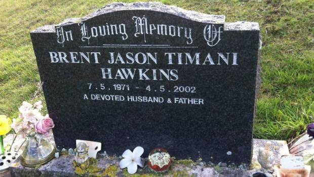 The grave of Brent Jason Hawkins in Waikanae Cemetery.