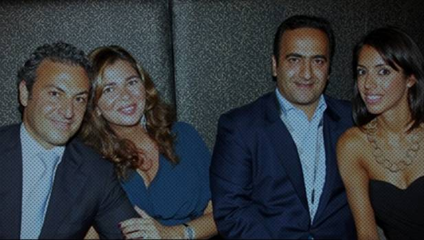 Cyrus Ahsani (left) and wife Sany, and Saman Ahsani (second right).