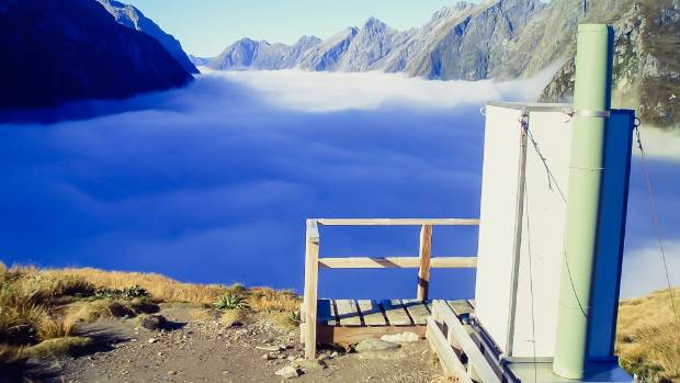 The toilet on top of the MacKinnon Pass on the Milford Track - that's a loo with a view.