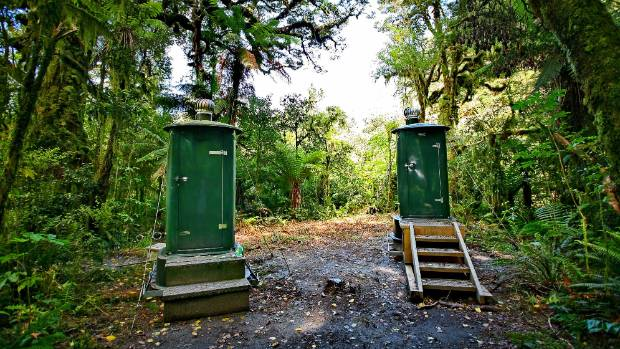 Outhouses on Milford Track in  Fjordland National Park.