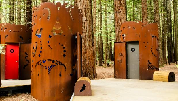 The Red Woods toilets in Rotorua depict mountain birds.