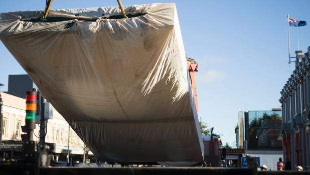 New city artwork being lowered into place outside Waikato Museum on Monday morning. The sculpture is nearly three ...