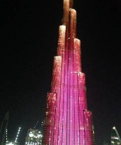A light show plays nightly on the facade of Dubai's Burj Khalifa, the world's tallest building.