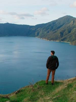 Marine biologist Matt Carter in the Marlborough Sounds while filming Coast New Zealand.
