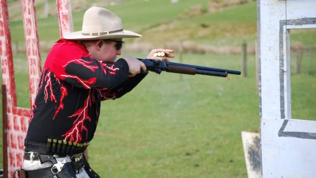 """Lightning Jack"" aka Jacob Finlayson, of Gore, shooting at the Kaitangata Pistol Club."