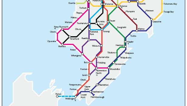 London Underground Style Map Of New Zealand Highways