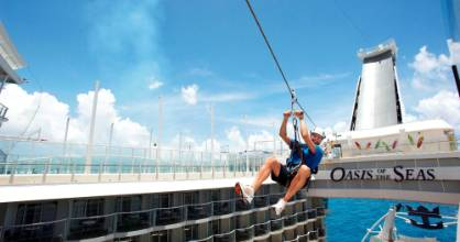 Royal Caribbean's zip line feature called Boardwalk on the cruise ship Oasis of the Seas.