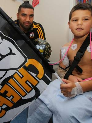 Chiefs player Taleni Seu and seven-year-old Tangaroa Elder talk about Friday night's game against the Waratahs.