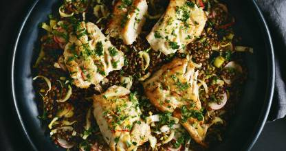 Fish, lentil and witloof salad with saffron orange vinaigrette.