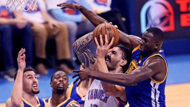 Warriors' Draymond Green kicks Thunder's Steven Adams in groin, faces possible suspension