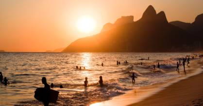 Ipanema beach at sunset.
