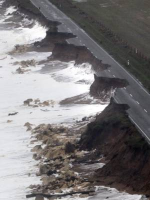 Beach Road near Oamaru fell into the sea after years of coastal erosion.