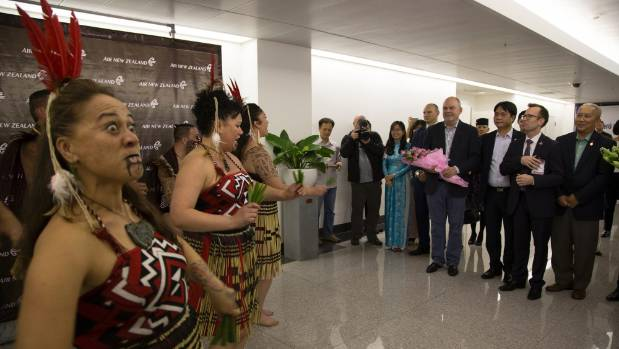 A kapa haka group greeted Economic Development Minister Steven Joyce and other dignitaries when Air New Zealand's first ...