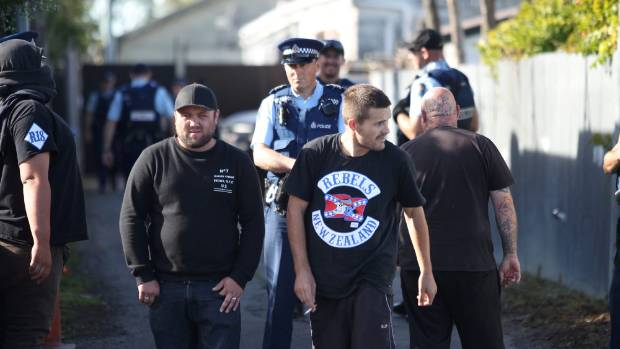 Rebels MC members outside the club's Christchurch headquarters in April.