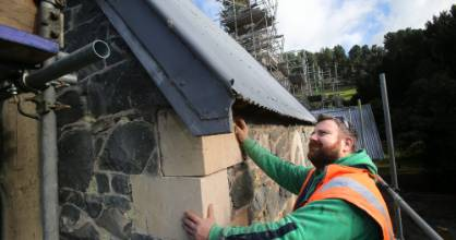 Repairs are now under way at the Church of Holy Innocents near Peel Forest, with Irish stonemason John McGaughey working ...