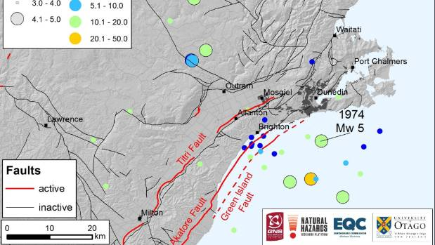 Active and inactive faults in the Dunedin area, including the location and depth of the April 1974 magnitude 5.0 ...