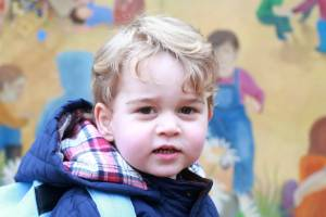 All grown up: Prince George attends his first day of preschool.
