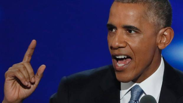 US President Barack Obama speaks on the third night of the Democratic National Convention.