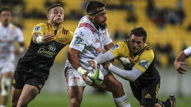 Chiefs prop Kane Hames, centre, is set to make his All Blacks debut on Saturday.