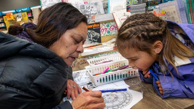 Mercia Wood and her granddaughter Sikylah Wood-Wall, 4, share some time colouring at Paper Plus in the Square, ...
