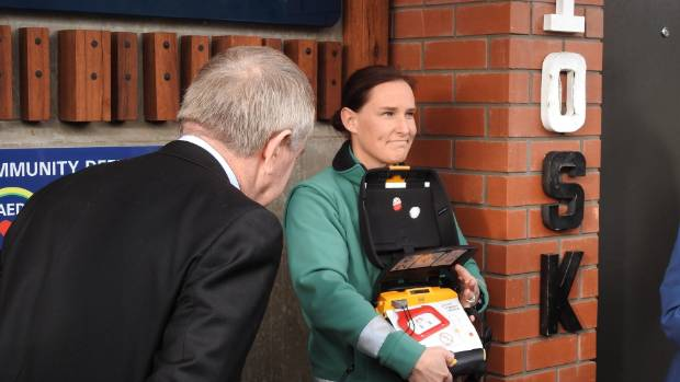 Amy Williams, Wellington Free Ambulance Heart Beat coordinator at the WED unveiling at Upper Hutt Station.