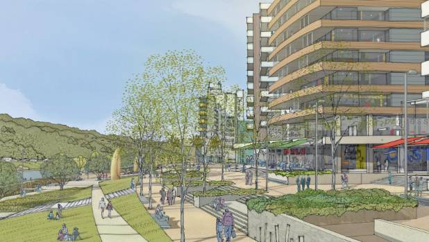 An impression of what a promenade could look like alongside the Hutt River once flood protection works are completed.