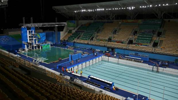 Rio Olympics 2016 Murky Green Pool Back To Blue For Synchronised Swimming