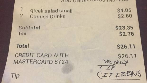 'We only tip citizens': Couple banned after waitress finds hateful note