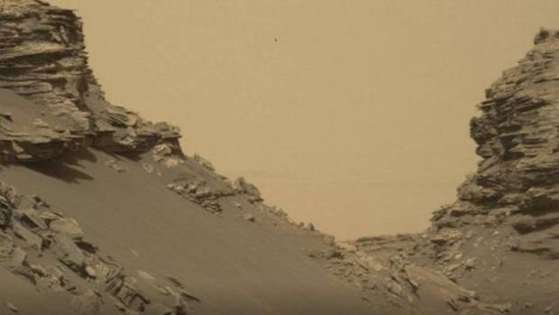 A Curiosity rover view of spectacular layered rock formations on Mars.