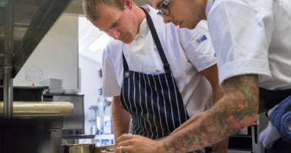 Aberdeen Restaurant's Craig Robinson learning The Grove chef Josh Barlow's recipe for their 2016 winning Plate of Origin ...