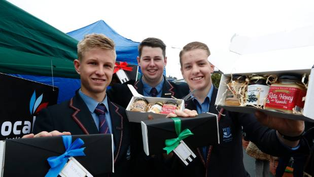 Dion Hamilton, left, Finley Beatson and Seddon Smith of Wesrtmount School with their Tocal Taste Local  product that ...