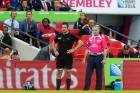 Richie McCaw waits to be given permission to re-enter the 2015 World Cup opening pool game against the Pumas at Wembley, ...