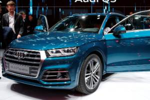 The Audi Q5 2.0 T quattro on display at the Paris auto show.