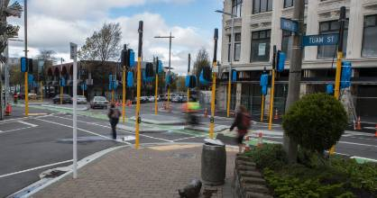 "The upgraded Tuam St and High St has 19 traffic light poles, which has been called ""kinda overkill""."