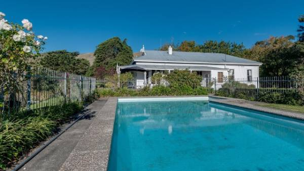 A fibreglass swimming pool provides cool relief during the hot Hawke's Bay summers.