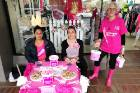 Anei Haupapa, Melleny Houpapa and councillor Karen Ngatai show their support for Pink Ribbon Day.