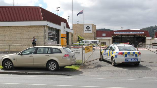 A police cordon in place at the St John Ambulance station in Whangarei.