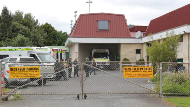 St John Ambulance staff gather outside the station after Tuesday's incident.