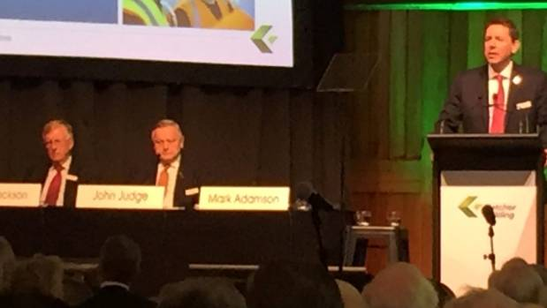 Fletcher Building chief executive Mark Adamson addresses shareholders at the 2016 annual meeting in Christchurch.