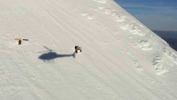 Rescuers flew in on the Greenlea Rescue Helicopter to retrieve two stranded skiers.