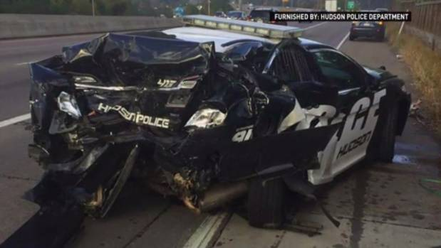 Police Officer Hilary Lundberg's wrecked patrol car.