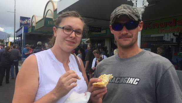 Brooke and Ben Skilton at the Westport Whitebait Festival.