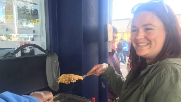 Ariana Greenland cooks whitebait at the Westport Whitebait Festival.