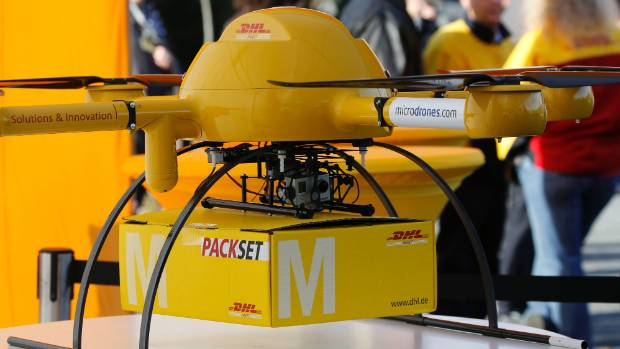 TWILIGHT DRONE: A prototype parcelcopter from German postal and logistics group Deutsche Post DHL.