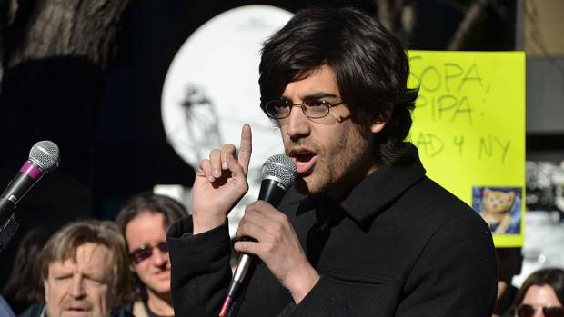 COMPELLING: Aaron Swartz talks at an event in New York in January 2012.