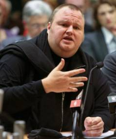Kim Dotcom speaking at an Intelligence and Security Committee hearing at Bowen House on July 3, 2013.
