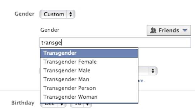 IDENTITY: Facebook users can now choose custom genders like transsexual or intersex on their profiles.
