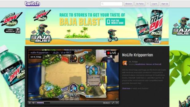 STREAMLINE: Screenshot of videogame streaming service Twitch.